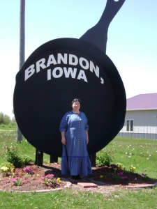 Sarah in Brandon, Iowa next to world's largest frying pan