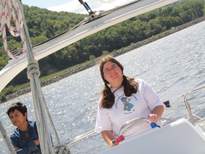 Sarah Steering on Sail Lake Pepin
