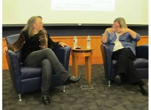 Caroline Fraser being interviewed at Iowa City Public Library