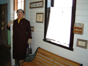 Sarah at the Ingalls Homestead, Dressed as Old Laura