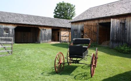 behind the barns