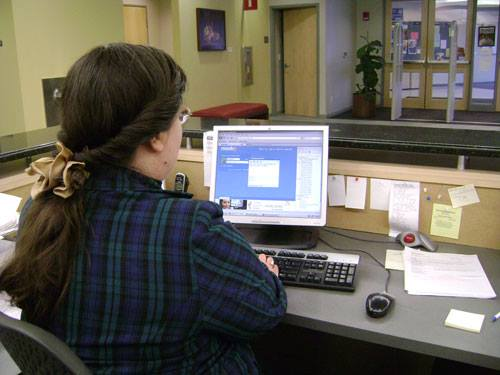 Sarah at Reference Desk