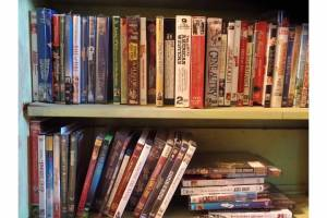 DVDs on a shelf