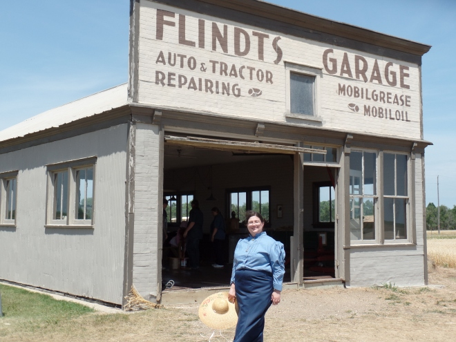 Sarah at Flindt's Garage on Ingalls Homestead