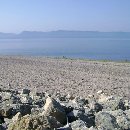 Rocky Shore with beach and lake