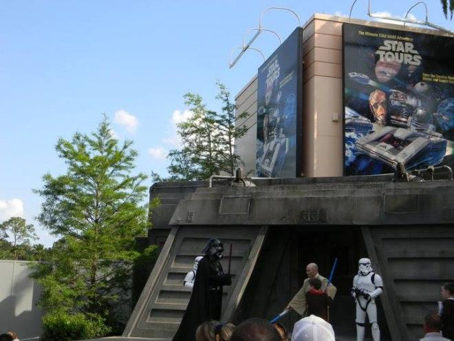 Star Wars characters at base entrance