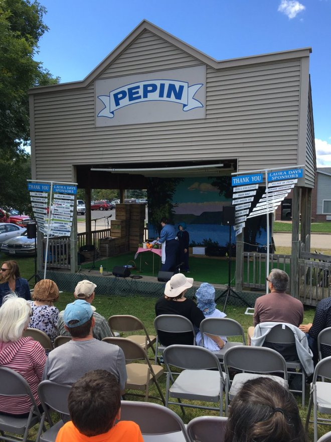Presenting on the Stage at Pepin, Wisconsin for Laura Days