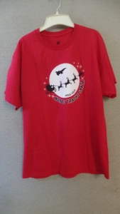 Red t-shirt with Santa Sleigh Image