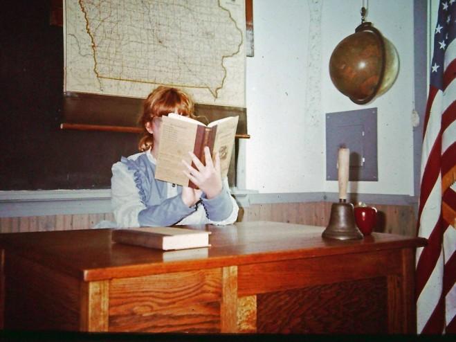 Sarah at Teacher Desk at Stone Academy, Solon, Iowa