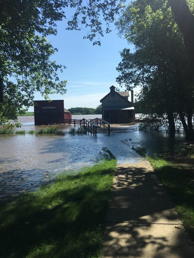 Historic Village surrounded by flood waters