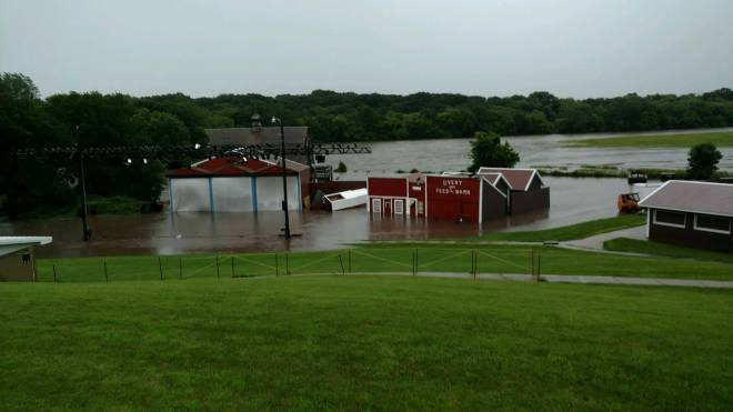 Flood in front of Walnut Grove Pageant Set