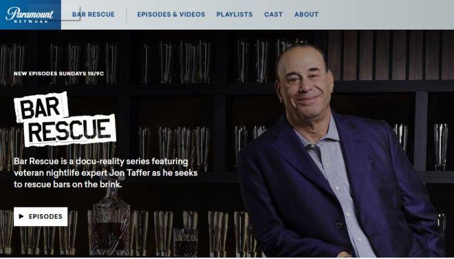 Screenshot of Bar Rescue Homepage