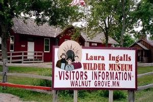 Sign and depot building at Laura IngallsWilder Museum in Walnut Grove