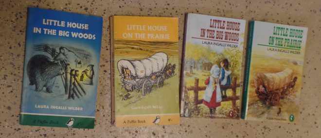4 covers of British edition 2 Little House in the Big Woods and 2 Little House on the Prairie