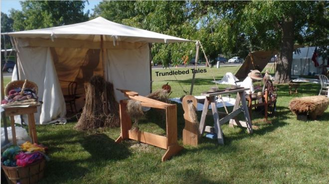 A set up for working flax, flax break, combs etc