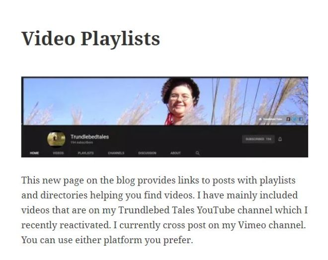 Screen Grab from my Video Playlists page