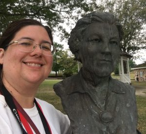 Sarah by the Bust of Laura Ingalls Wilder